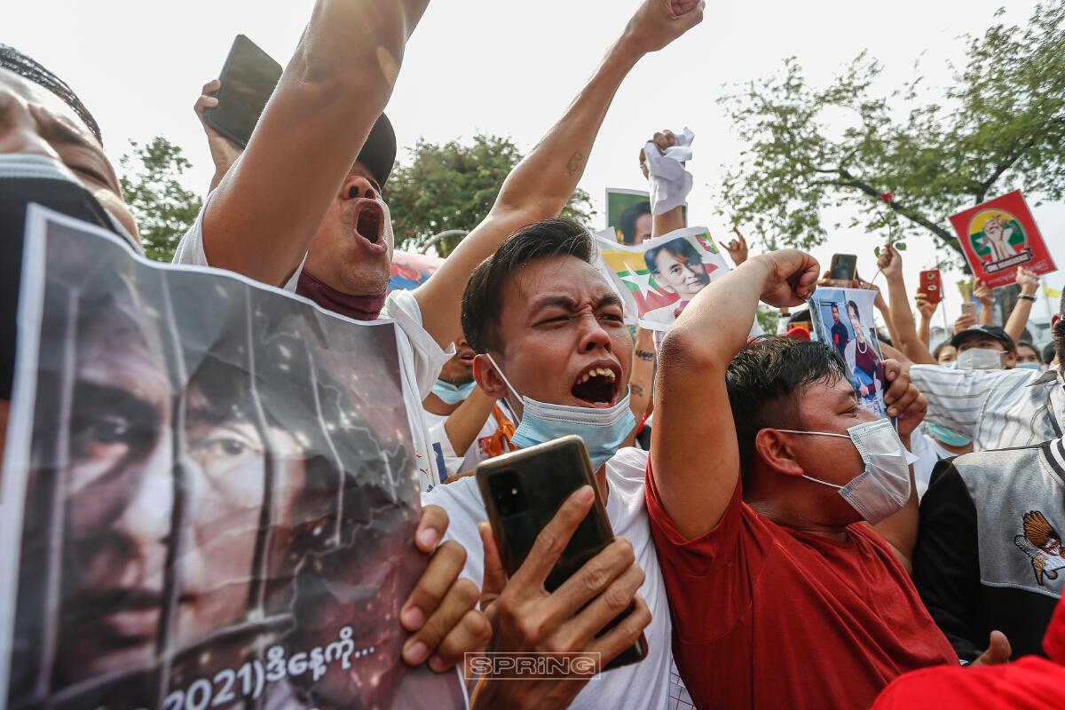 ชาวเมียนมาในไทย ชุมนุมต้านรัฐประหารเมียนมาต่อเนื่องเป็นวันที่ 6
