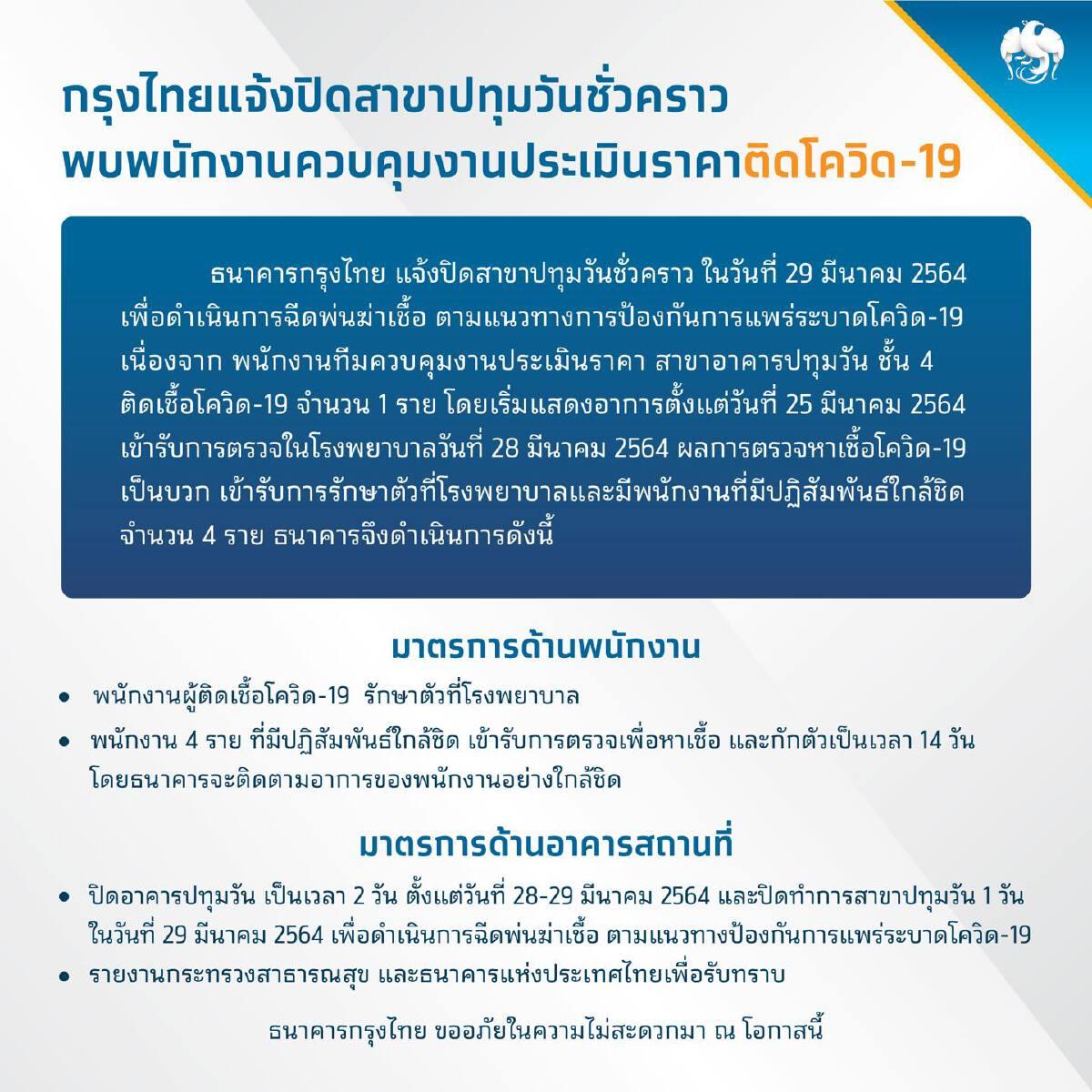 กรุงไทยแจ้งปิดสาขาปทุมวันชั่วคราว หลังพบพนักงานติดโควิด19