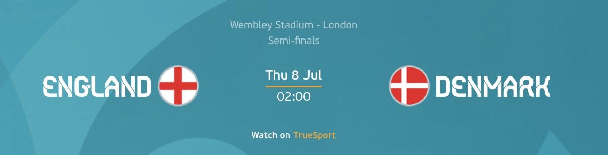 อังกฤษ - เดนมาร์ก ดูบอลยูโร 2020/21 วันพุธที่ 7 ก.ค. 64 เวลา 02.00 น.