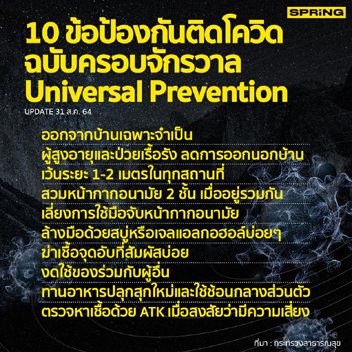 10 หลักการป้องกันติดโควิด ตามมาตรการ Universal Prevention