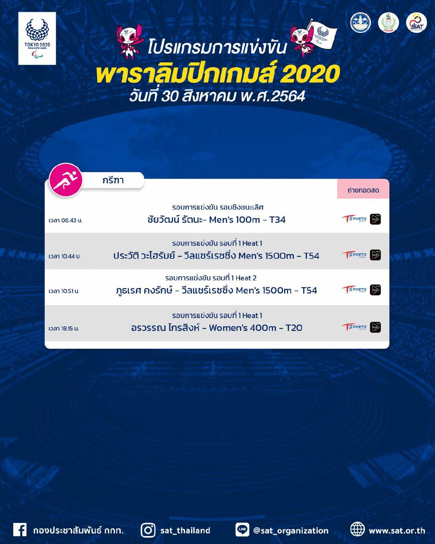 ดูพาราลิมปิก 2020 โปรแกรมถ่ายทอดสด 30 สิงหาคม 2564
